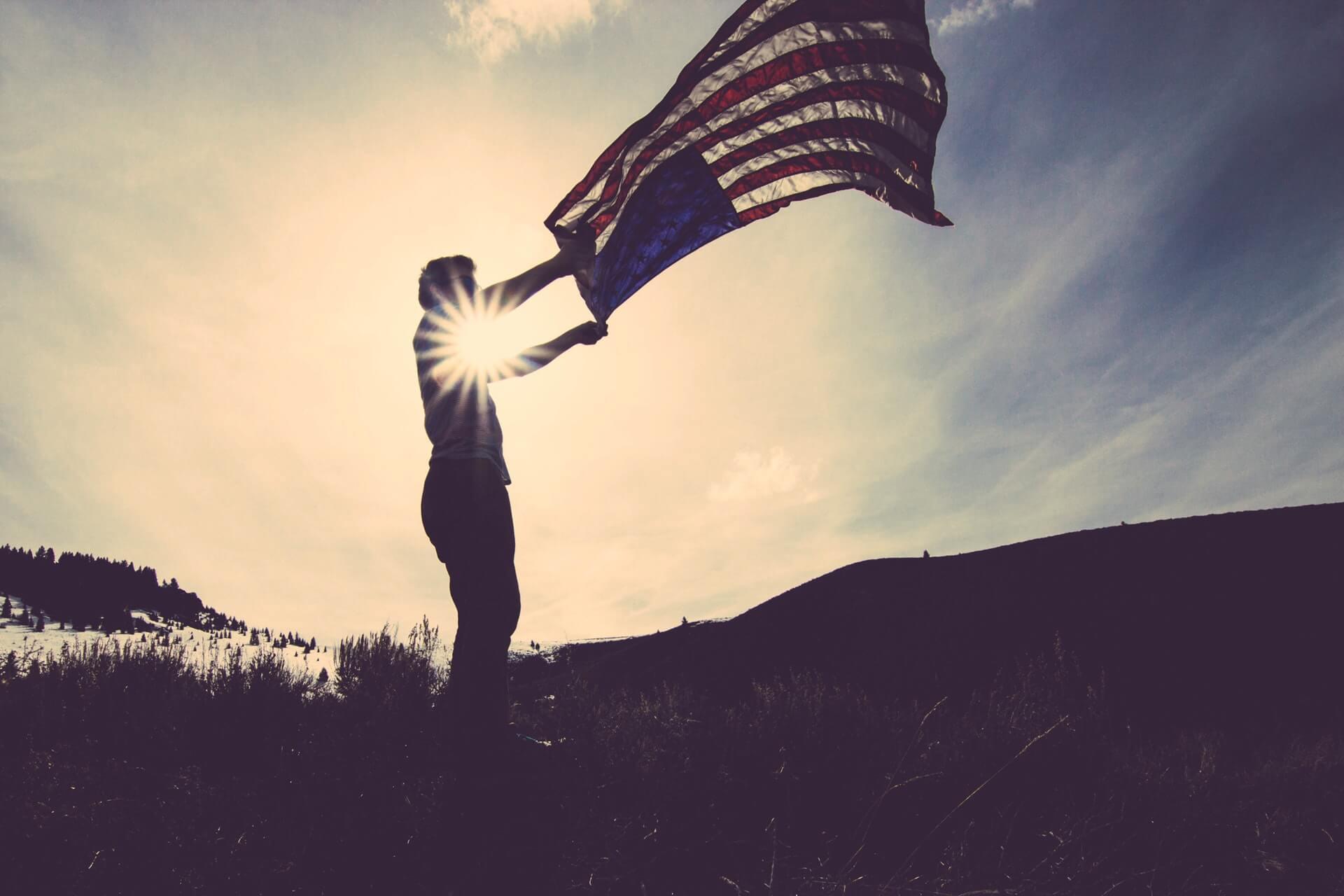 waving the American flag