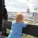 little boy in cable car to Sentosa, Singapore