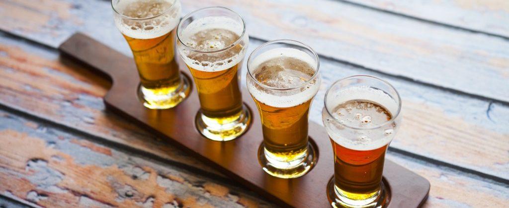 Four Shots of Beer Served for Tasting
