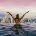 Lady in Singapore infinity pool